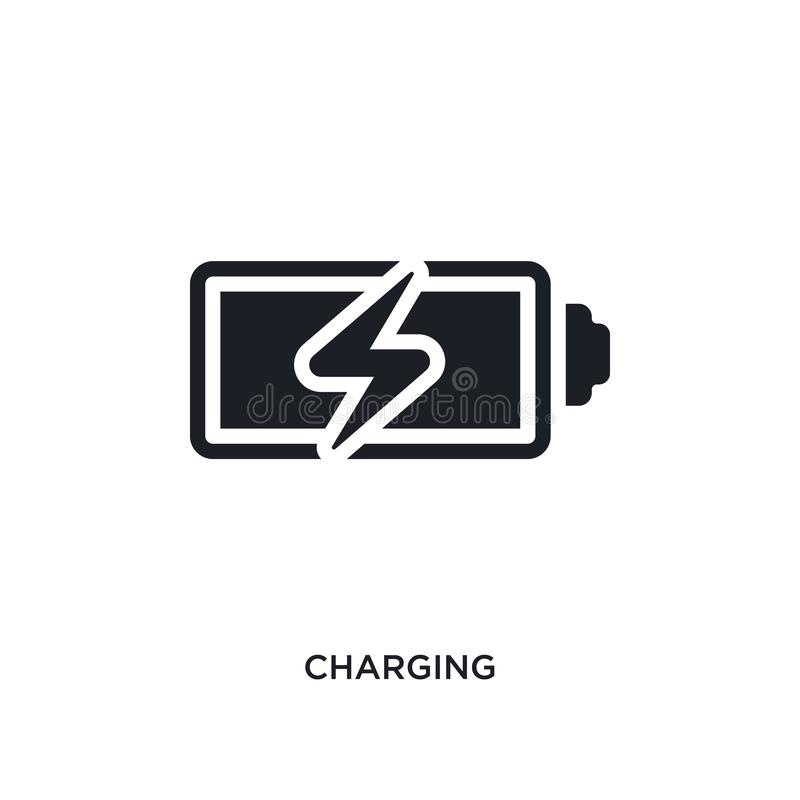 charging isolated icon. simple element illustration from electrian connections concept icons. charging editable logo sign symbol vector illustration