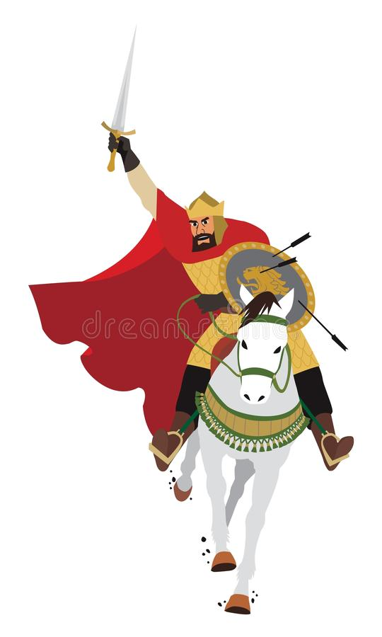 Charging King. A King/Tsar/Emperor swooping upon his enemy. No transparency and gradients used in the vector file stock illustration