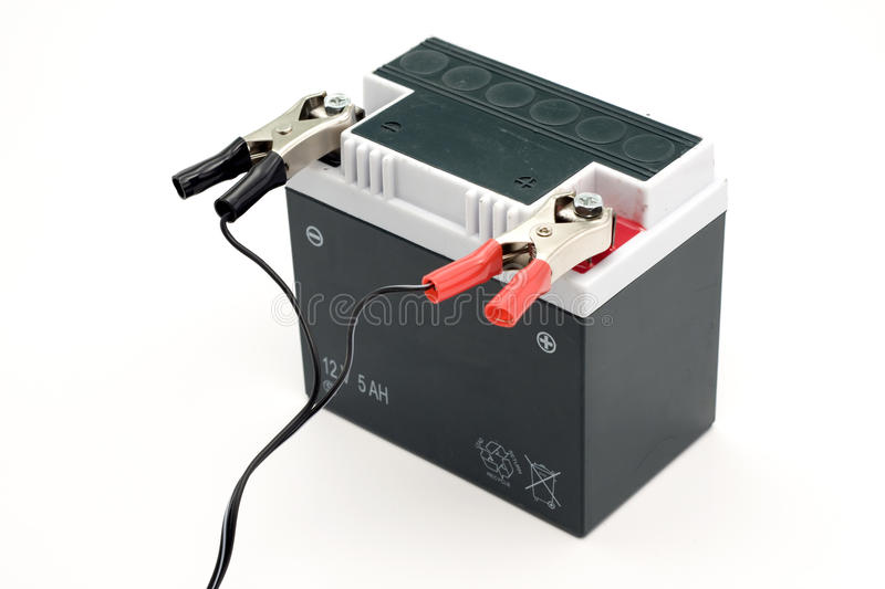 Charging motorcycle battery royalty free stock photo