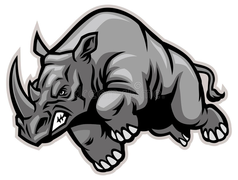 Charging rhino. Vector of Charging rhino suitable as a team mascot, print, sticker, t-shirt etc