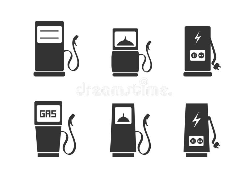 Charging station icons set vector illustration