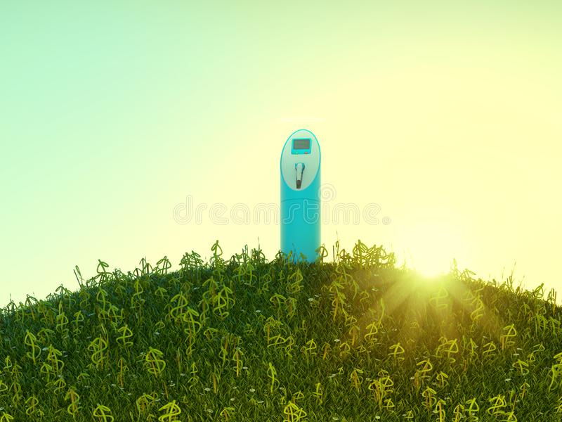 Charging station on meadow with USD shaped grass royalty free stock images