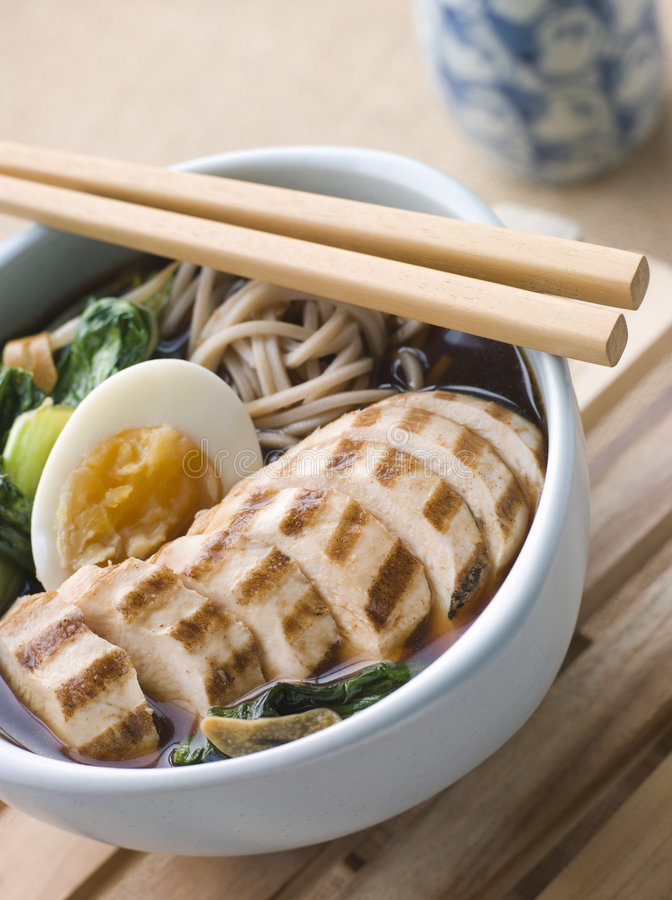 Chargrilled Chicken Soba Noodle and Miso Soup. Bowl of Chargrilled Chicken Soba Noodle and Miso Soup royalty free stock photos
