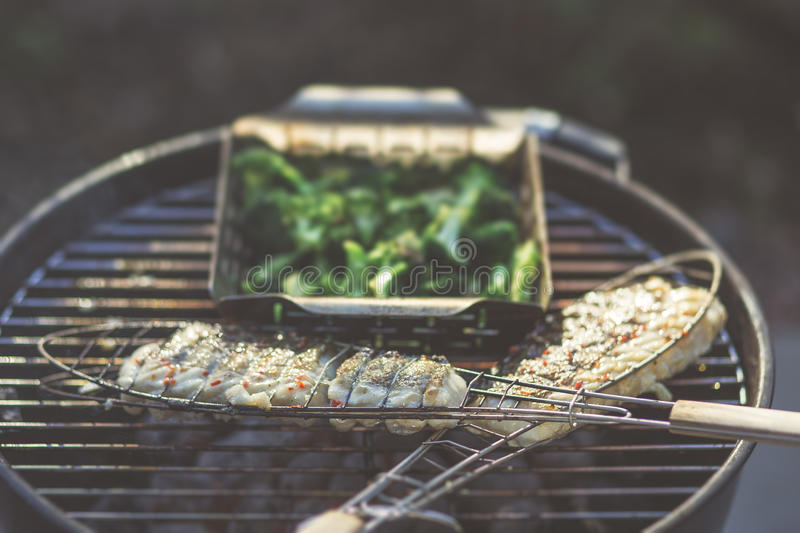 Chargrilled fish. Fresh chargrilled cod spiced with chilli royalty free stock images