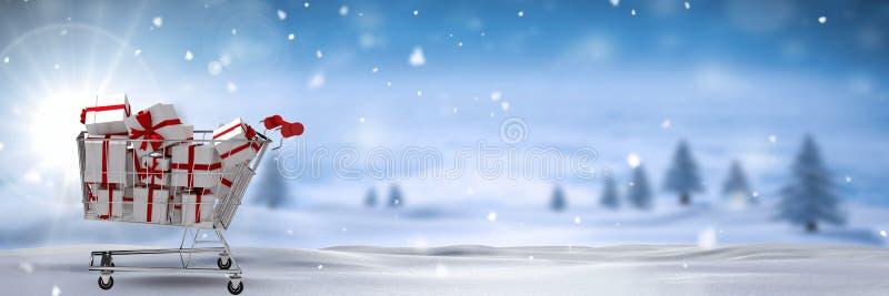Chariot à achats avec des cadeaux dans le paysage d'hiver de Noël illustration libre de droits
