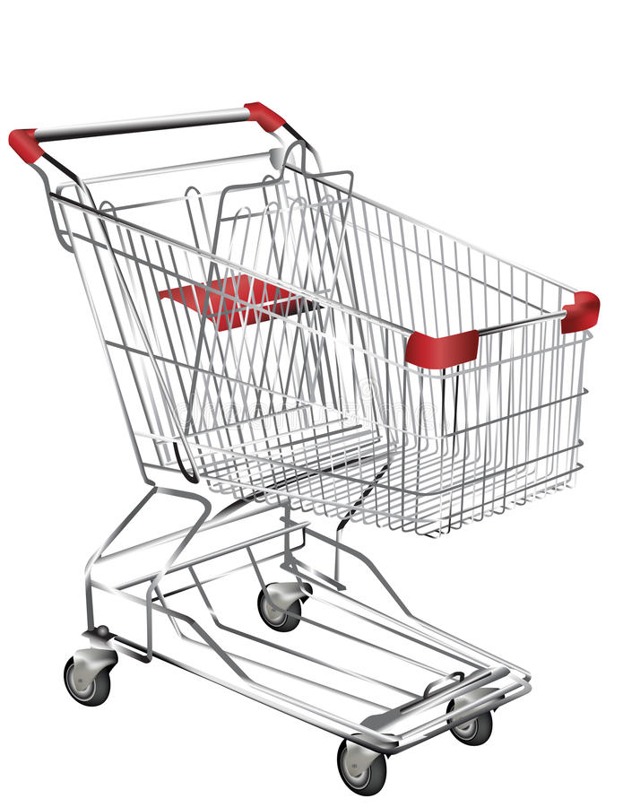 Chariot à achats en métal illustration de vecteur