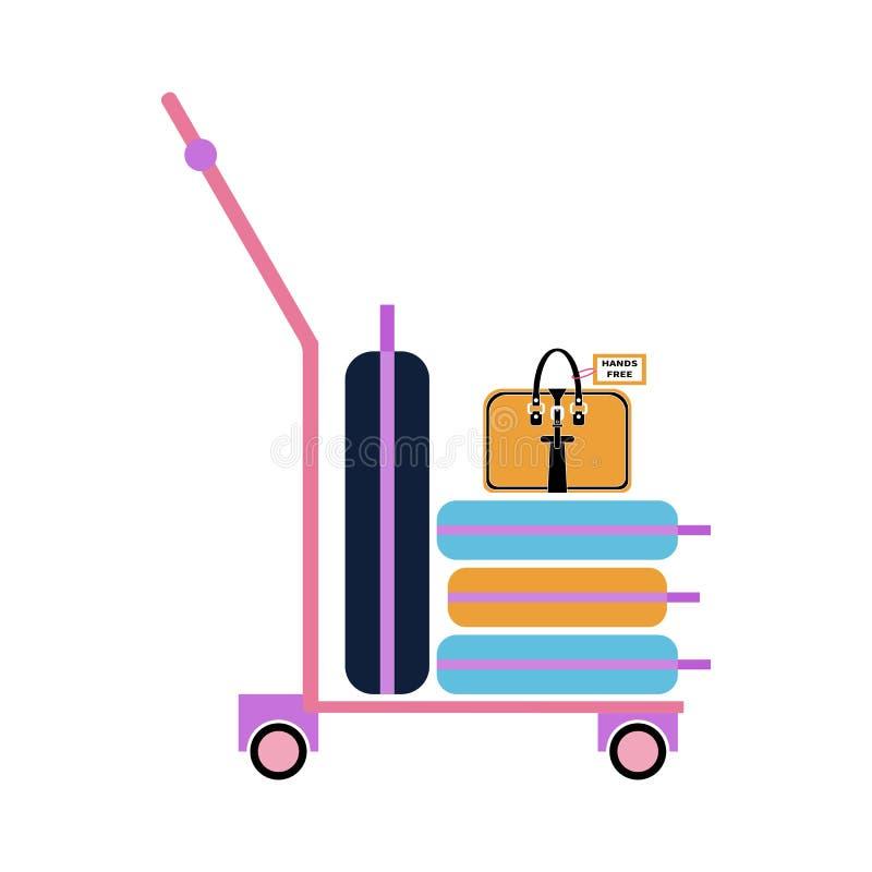 Chariot à bagage avec les valises et le sac Style plat illustration de vecteur
