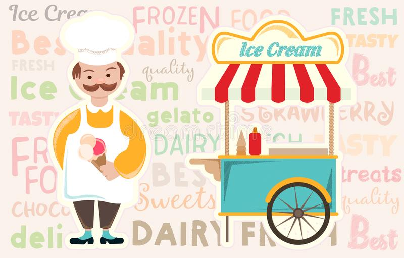 Chariot à crème glacée et à crème glacée  illustration de vecteur
