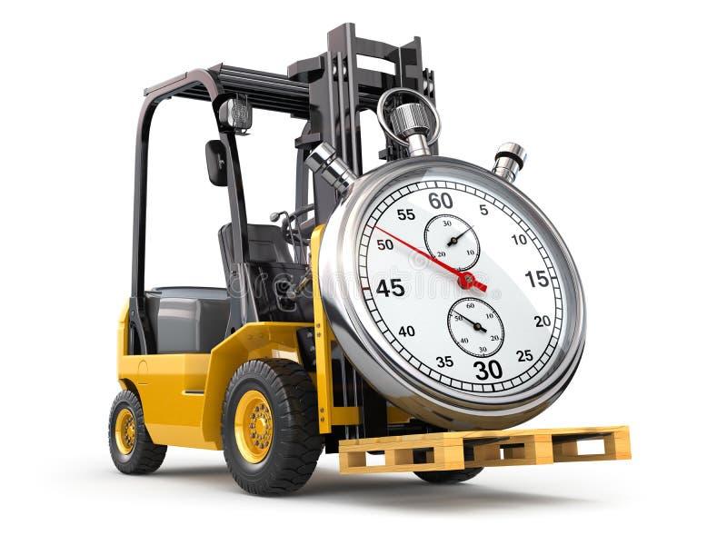 Chariot élévateur avec le chronomètre Concept de la livraison express illustration stock