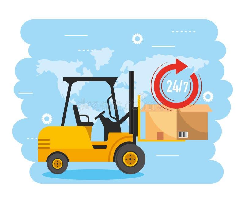 Chariot élévateur avec le paquet et le service de distribution de boîte illustration stock