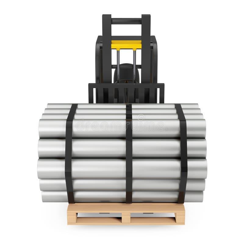 Chariot élévateur Carry Stack des tuyaux en métal rendu 3d illustration de vecteur