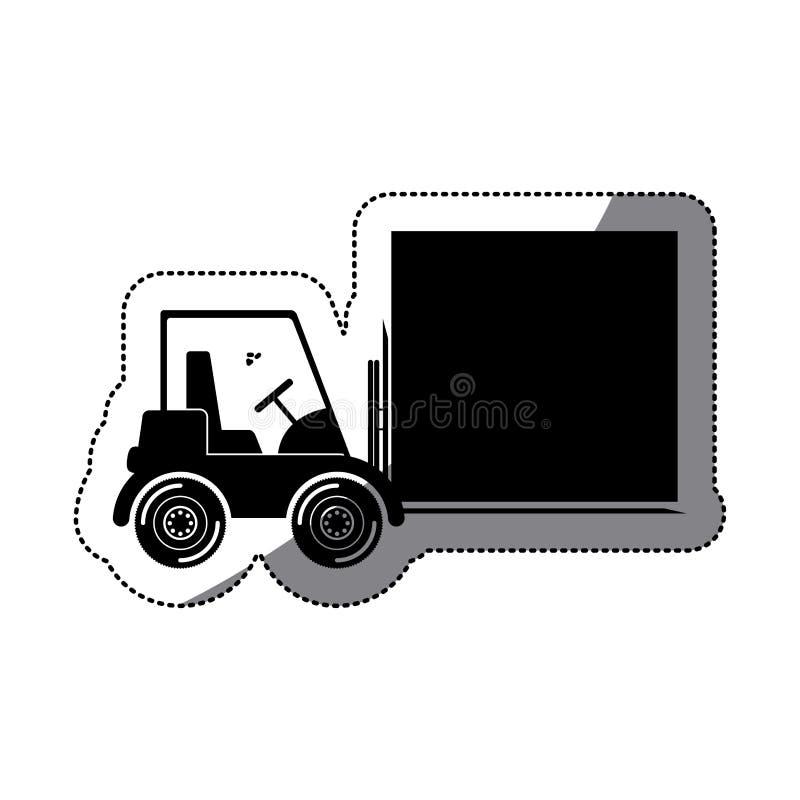 Chariot élévateur d'isolement et design d'emballage de la livraison illustration stock