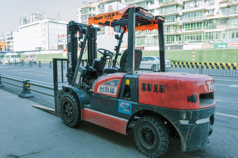 Chariot élévateur sur la rue, Chengdu, Chine images libres de droits