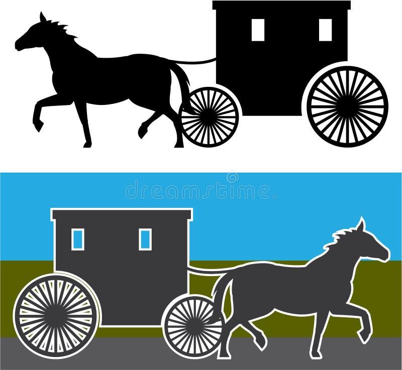 Chariot amish illustration libre de droits