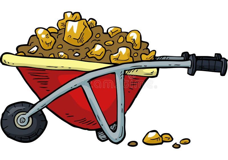 Chariot avec de l'or illustration stock
