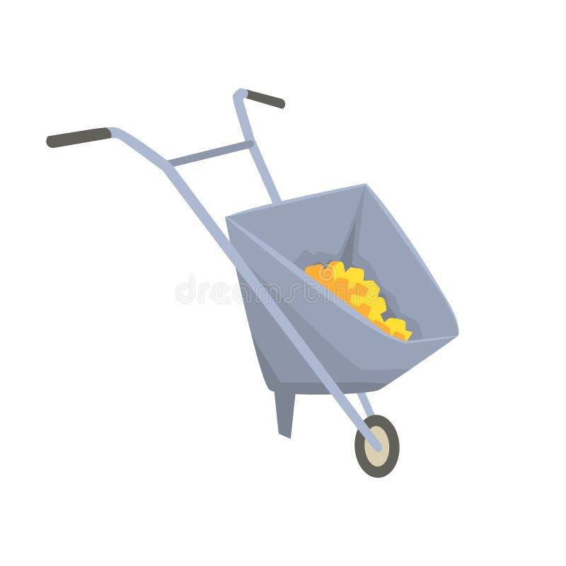 Chariot avec du minerai d'or, illustration de vecteur de bande dessinée de concept d'industrie minière illustration de vecteur