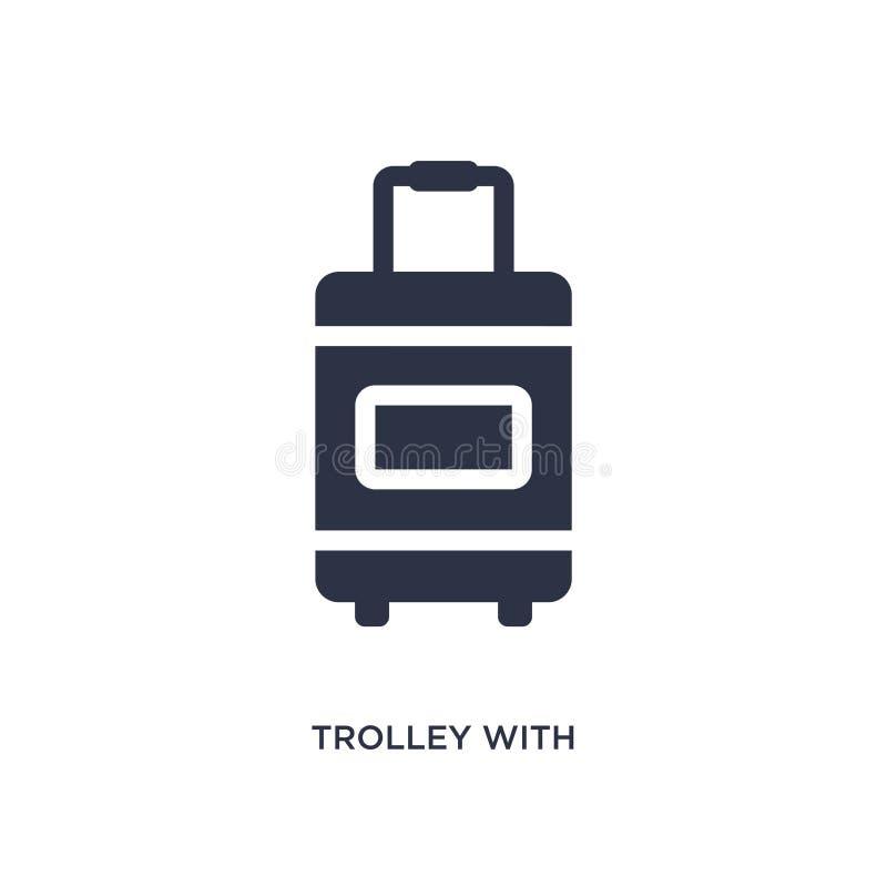 chariot avec l'icône de bagage sur le fond blanc Illustration simple d'élément de concept de terminal d'aéroport illustration stock