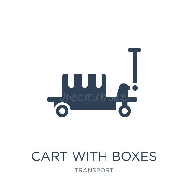 chariot avec l'icône de boîtes dans le style à la mode de conception chariot avec l'icône de boîtes d'isolement sur le fond blanc illustration de vecteur