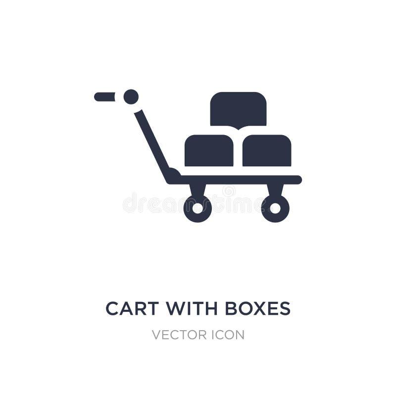 chariot avec l'icône de boîtes sur le fond blanc Illustration simple d'élément de concept de transport illustration de vecteur