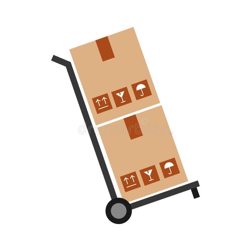 Chariot avec l'icône de la livraison de carton de boîtes illustration stock