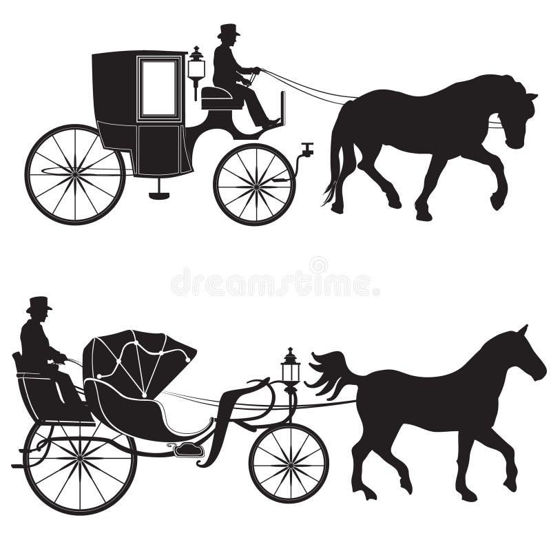 Chariot avec le cheval ensemble de Hansom-cabine illustration libre de droits