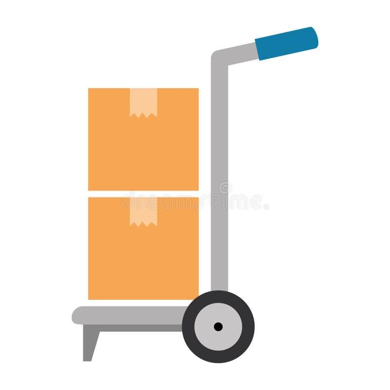 Chariot avec le service de distribution de boîtes illustration stock