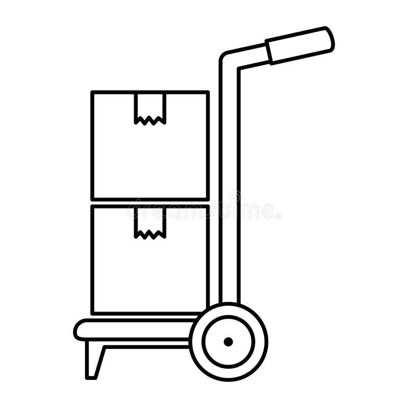 Chariot avec le service de distribution de boîtes illustration libre de droits