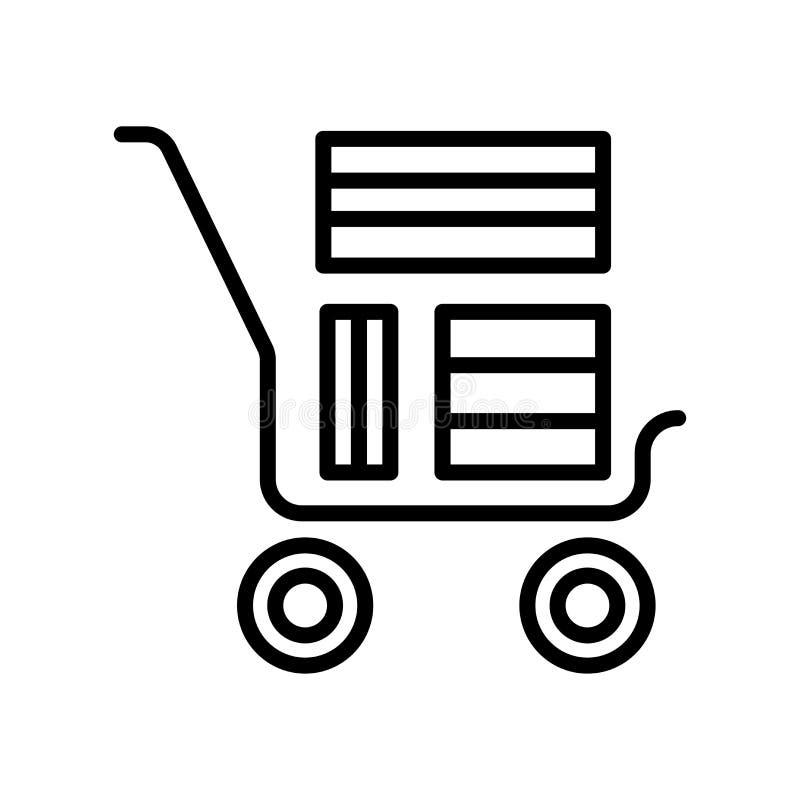 Chariot avec le signe et le symbole de vecteur d'icône de boîtes d'isolement sur le Ba blanc illustration libre de droits