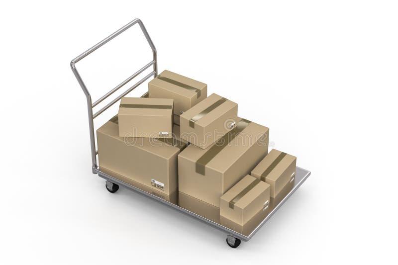 Chariot avec le tas des boîtes de rangement illustration de vecteur