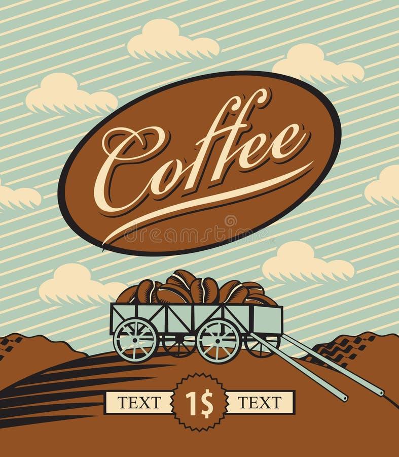Chariot chargé avec des grains de café illustration stock