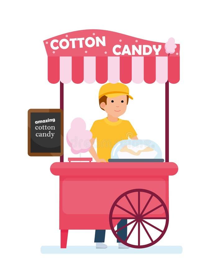 Chariot d'aliments de préparation rapide Chariot de sucrerie de coton avec le vendeur Parc d'attractions illustration de vecteur