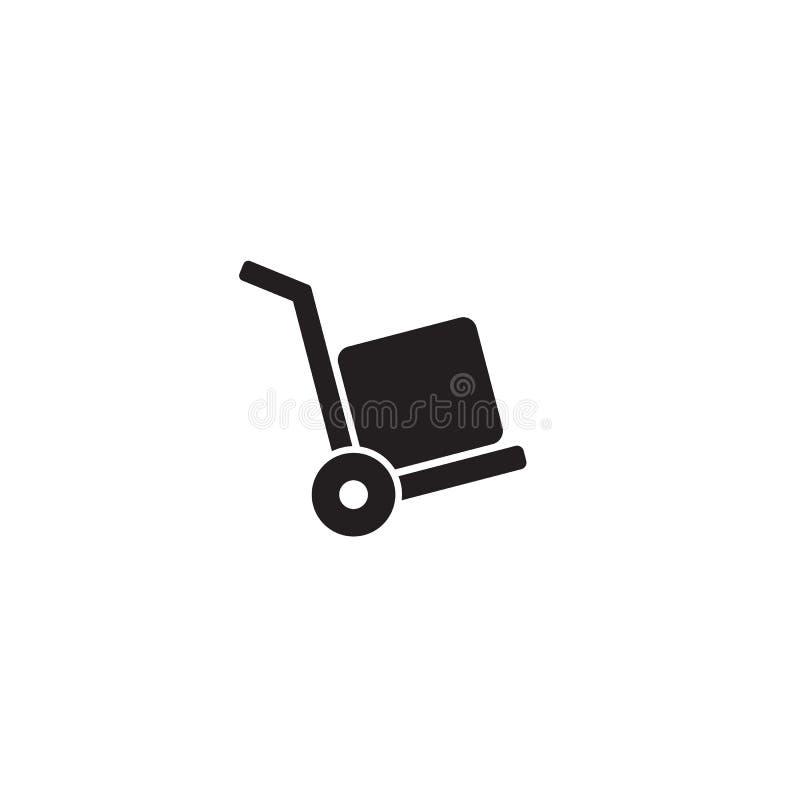 Chariot d'icône de vecteur avec la boîte sur le blanc handcart illustration libre de droits