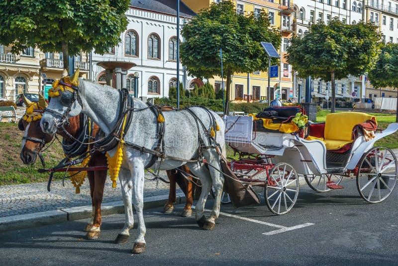 Chariot dans Marianske Lazne, République Tchèque images stock