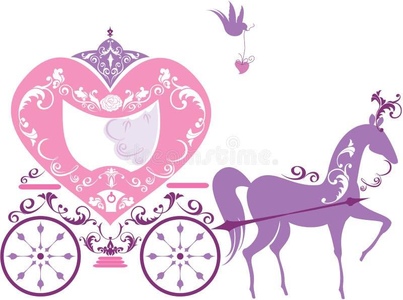 Chariot de cheval de conte de fées de vintage d'isolement illustration libre de droits