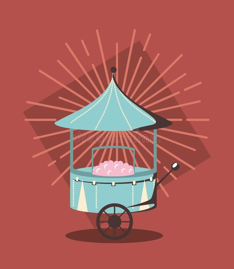 Chariot de coton de sucre illustration stock