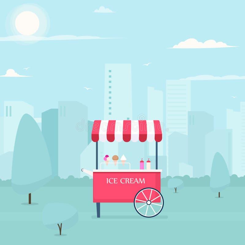 Chariot de crème glacée illustration stock