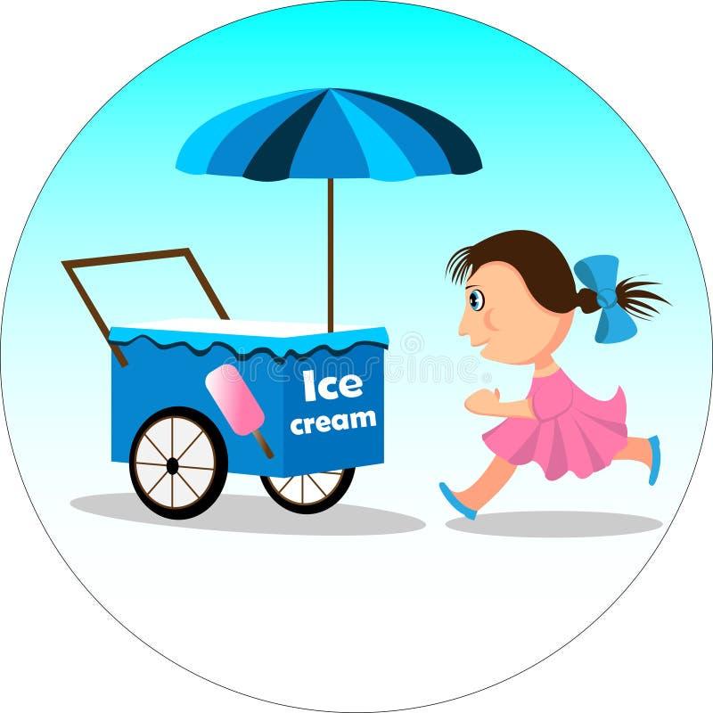 Chariot de crème glacée de fille et  illustration de vecteur