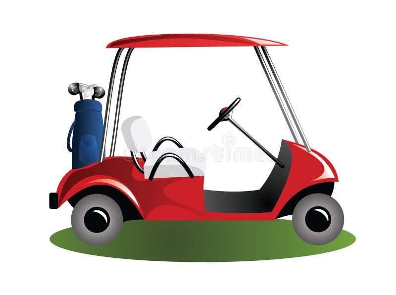 Chariot de golf dans le domaine illustration stock