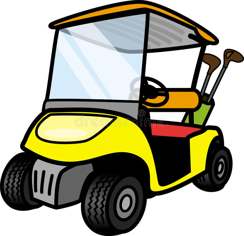 Chariot de golf jaune illustration stock