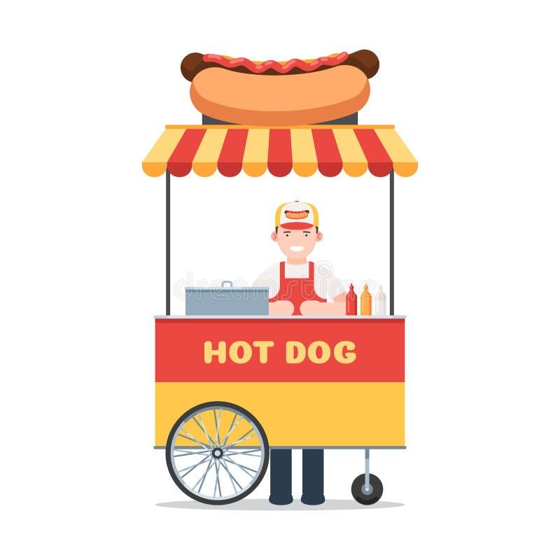 Chariot de hot-dog avec le vendeur illustration stock