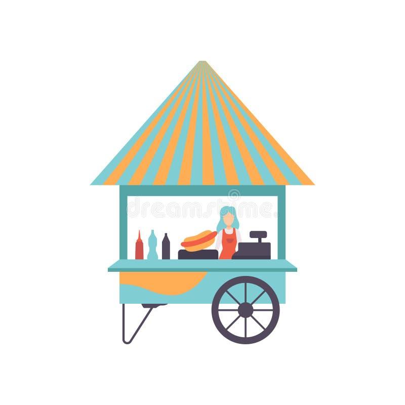 Chariot de hot-dog avec le vendeur, chariot de nourriture de rue, illustration mobile de vecteur de magasin illustration stock