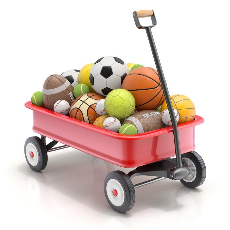 Chariot de jouet du ` s d'enfant de vintage mini avec des boules de sport - illustration 3D illustration libre de droits