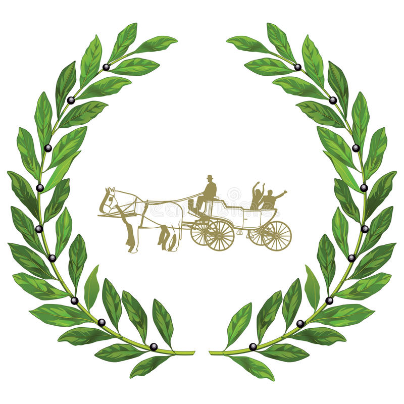 Chariot de mariage en guirlande de laurier illustration de vecteur