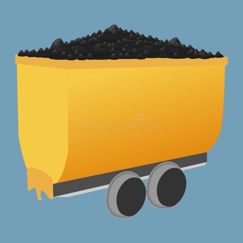 Chariot de mine avec du charbon illustration libre de droits