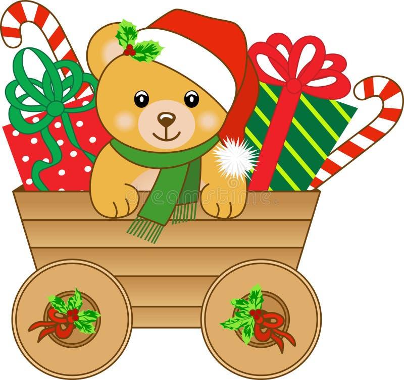 Chariot de Noël avec l'ours de nounours illustration stock