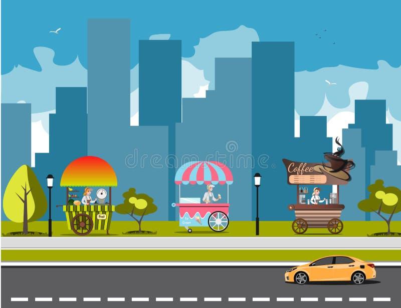 Chariot de nourriture de rue illustration stock