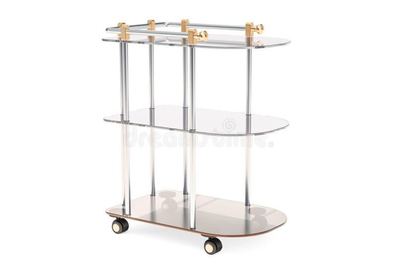 Chariot de portion, table de métal et verre rendu 3d illustration stock
