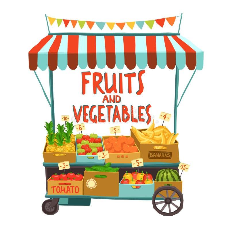 Chariot de rue avec des fruits illustration stock