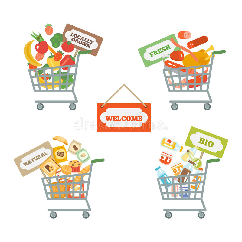 Chariot de supermarché avec la nourriture illustration libre de droits