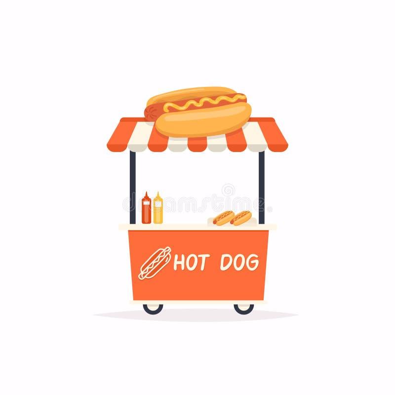 Chariot de support de hot-dog Chariot de nourriture de rue Illustration de vecteur illustration de vecteur
